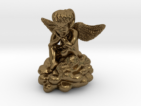 Angel Cupid pendant charm in Polished Bronze