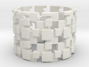 Borg Cube Ring Size 13 in White Natural Versatile Plastic