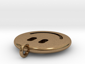Happy Face Emoticon Charm Smiley in Natural Brass