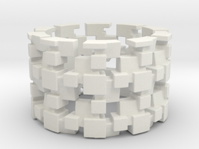 Tilt Cubes Ring Size 9 in White Strong & Flexible