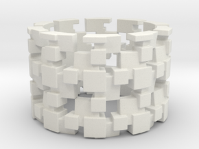 Tilt Cubes Ring Size 13 in White Natural Versatile Plastic