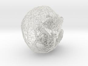 Skull Wireframe 3.6 Manifold in White Natural Versatile Plastic