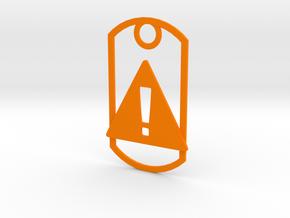 Danger dog tag in Orange Strong & Flexible Polished
