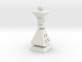 Typographical Queen Chess Piece in White Natural Versatile Plastic