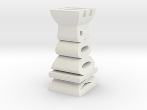 Typographical Rook Chess Piece in White Natural Versatile Plastic
