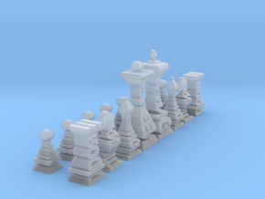 Mini Typographical Chess Set in Smooth Fine Detail Plastic