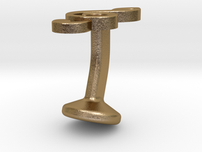 Treble Clef Cufflink (single) in Polished Gold Steel