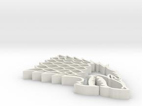Game of Thrones GoT Stark Sigil Pendant Big Versio in White Natural Versatile Plastic