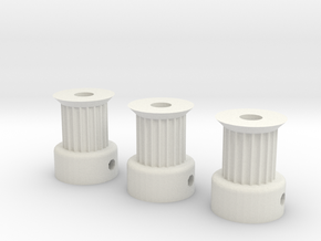RepRap GT2 20t Pulleys in White Natural Versatile Plastic
