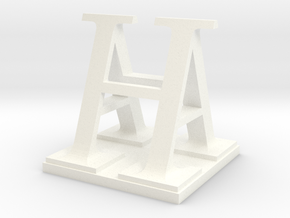 Two way letter / initial A&H XL in White Processed Versatile Plastic