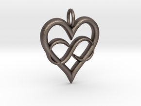 Infinity-heart in Polished Bronzed Silver Steel