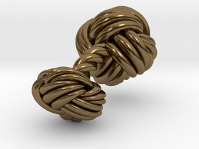 Woven Knot Cufflink in Polished Bronze