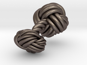 Woven Knot Cufflink in Polished Bronzed Silver Steel