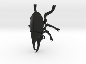 Rhino Beetle small in Black Natural Versatile Plastic