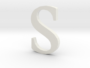 S  (letters series) in White Natural Versatile Plastic