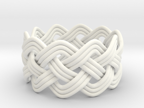 Turk's Head Knot Ring 4 Part X 10 Bight - Size 10 in White Processed Versatile Plastic