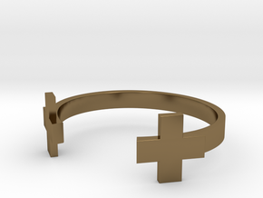 Double Plus Cuff in Polished Bronze