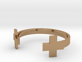 Double Plus Cuff in Polished Brass