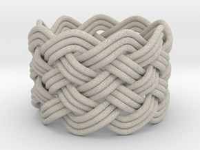 Turk's Head Knot Ring 6 Part X 9 Bight - Size 7.5 in Natural Sandstone