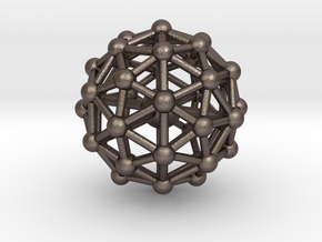 Pentakis Icosidodecahedron w/ Orb Desk Toy in Polished Bronzed Silver Steel