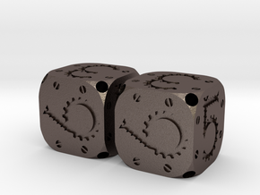 Tinker Dice Metal D6 Pair in Polished Bronzed Silver Steel