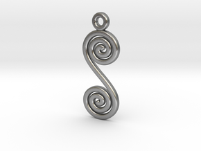 Spirals earring or pendant in Raw Silver