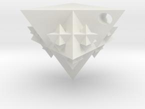 Tetrahedron Fractal Pendant in White Natural Versatile Plastic