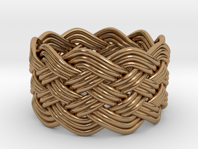Turk's Head Knot Ring 6 Part X 10 Bight - Size 10 in Polished Brass