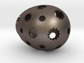 Mosaic Egg #7 in Polished Bronzed Silver Steel