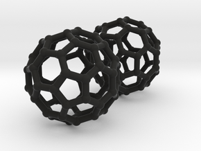 Buckyball Chemistry Molecule Earrings in Black Natural Versatile Plastic