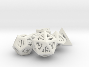 Thoroughly Modern Dice Set in White Natural Versatile Plastic