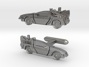 Back to the Future's Delorean: cufflinks in Natural Silver