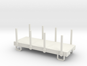 On18/On20 12ft Flat car  with stakes  in White Natural Versatile Plastic