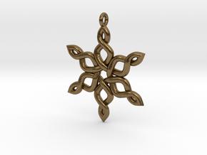 Snowflake Pendant 30mm in Natural Bronze: Medium