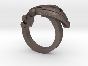 Avar Ring - us:7 3/4 fin:Ø18 in Polished Bronzed Silver Steel
