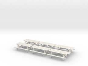 Picnic Tables S Scale X6 in White Natural Versatile Plastic
