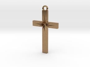 Cross With Starburst  in Natural Brass