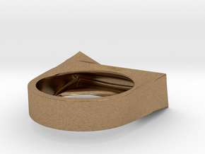 Cutting Edge Ring - 18 mm in Natural Brass