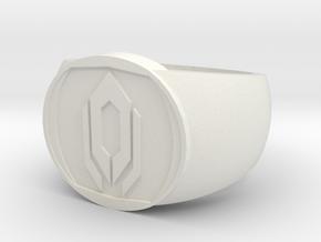 Cerberus Ring (size 8) in White Natural Versatile Plastic