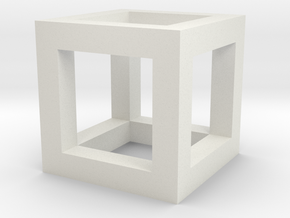 3mm Cube Frame in White Natural Versatile Plastic