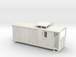 OO9 bogie brake/road van with birdcage (large) in White Natural Versatile Plastic