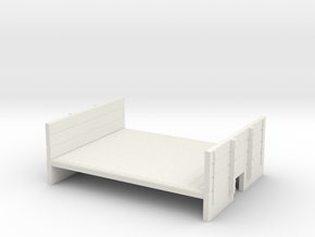 009 Flat With Ends  wagon body in White Natural Versatile Plastic