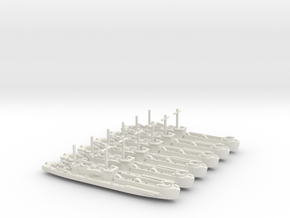 6 Off LCI(L) Low Square Bdg, Side Ramp 1/700 Scale in White Natural Versatile Plastic