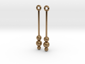 Three Orbs - Earrings - Silver or Brass in Natural Brass