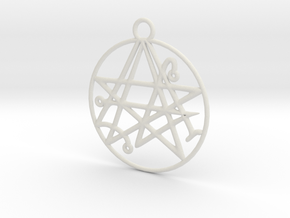 Cthulhu Sigil of the Gateway Pendant in White Strong & Flexible