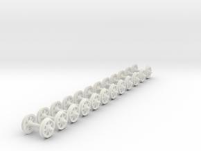 55n2 wheels on axles 7 Spoke 9.8 mm diameter 12mm in White Strong & Flexible