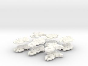 Cardassian Big Fleet (12 Ships, 2 sets of 6) in White Strong & Flexible Polished