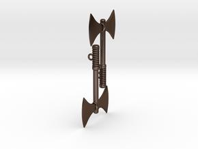 Labrys (Double Axe) Feminist Symbol Earrings in Polished Bronze Steel