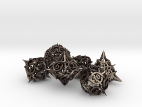 Thorn Dice Ornament Set in Polished Bronzed Silver Steel