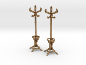 Pair of 1:48 Metal Hatstands in Natural Brass